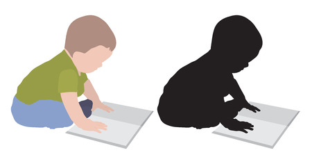 Baby boy with book, colorful and silhouette, vector illustration