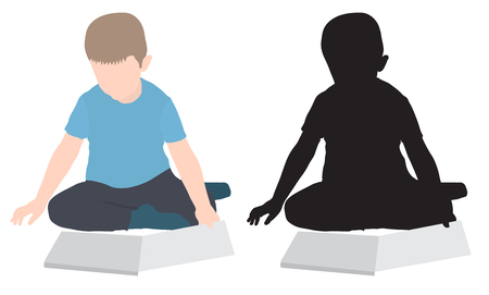 Silhouette of sitting boy looking at book, colored and black, isolated. Vector illustration