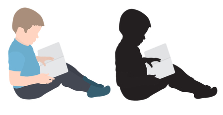 Child boy is reading book, colorful and silhouette, vector illustration