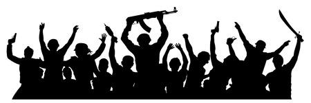 Foule de militaires avec des armes. Terroristes armés. Silhouette militaire de soldats. Illustration vectorielle Vecteurs