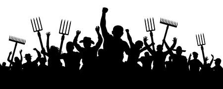 Folla di persone con un rastrello di pala forcone. Manifestazione di protesta dei contadini arrabbiati. Sagoma di vettore di lavoratori antisommossa