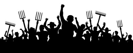 Multitud de personas con un rastrillo de pala de horquilla. Los campesinos enojados protestan contra la manifestación. Silueta de vector de trabajadores antidisturbios