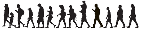 Silhouettes of moving people (crowd), isolated. Set, vector illustration. 矢量图像