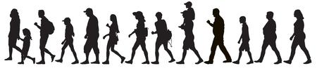 Siluetas de personas en movimiento (multitud), aisladas. Conjunto, ilustración vectorial.