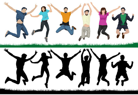 Happy young people. Group of people in a jump. Cheerful youth in the air on trampolines. Friends are jumping. Vector illustration silhouette