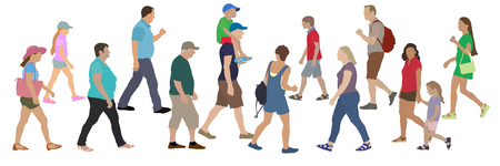 Set of people walking towards each other, vector illustration.