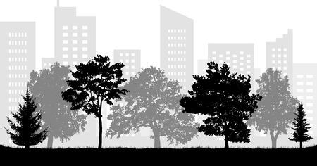 City (urban) park silhouette. Vector illustration
