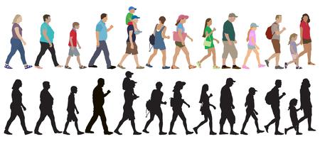 Reihe von gehenden Menschen (Menge) und Silhouetten, isoliert. Vektor-Illustration. Vektorgrafik