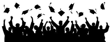 Graduates throwing cap. Silhouette high achievements. School student hat vector Ilustração