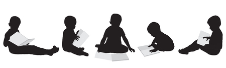 Silhouettes of reading boys. Set. Vector illustration. Illustration
