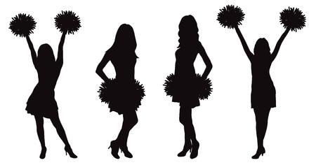 Girls cheerleading dancer with pompoms, silhouette. Vector illustration Ilustração