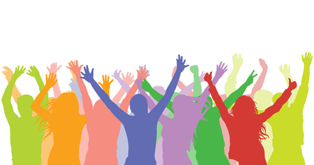 Cheerful people on party (holiday, concert, stadium and etc.). Colorful silhouette of crowd.  Vector illustration Ilustração