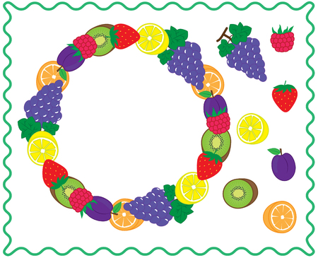 Round frame with fruits and berries. Fruit circle for your design and icons. Vector Ilustração
