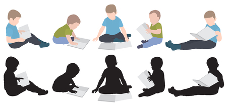 Set of boys reading book and silhouette. Vector illustration.