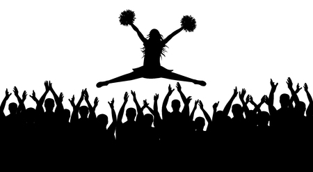Silhouettes of jumping girl with pompoms and applauding crowd. Vector illustration.