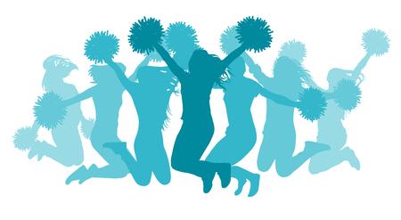 Jumping girls(cheerleaders) silhouette, isolated. Vector illustration. Ilustração