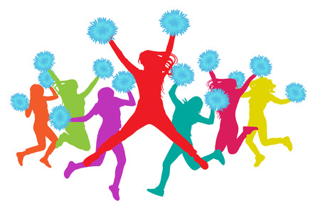 Jumping girls with pompoms (cheerleaders) silhouette colorful. Vector illustration Ilustração
