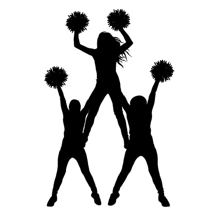 Girls of cheerleading made a pyramid silhouette isolated, vector illustration Banque d'images - 124157731