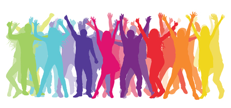 Silhouette of dancing and cheerful people. Colorful crowd. Vector illustration