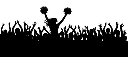 Die Fans jubeln zusammen mit der Cheerleader-Silhouette. Menge. Sport. Vektor-Illustration