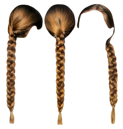 Female hair with a plait isolated set. Head with hair from different sides