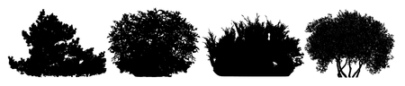 Bush silhouette vector set Illustration