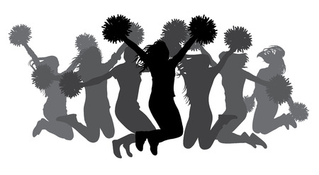 Jumping girls with pom-poms. Silhouettes of cheerleaders. Vector illustration
