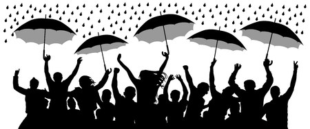 Crowd of cheerful people with umbrellas in the rain. Isolated Vector Silhouette