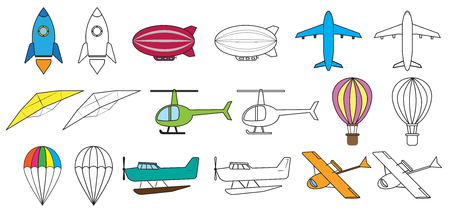 Air transport set and coloring book. Vector illustration