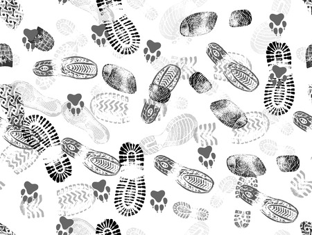 Seamless background of footprints and animal footprints. Vector illustration