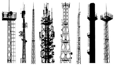 Tower radio antenna silhouettes isolated on white background