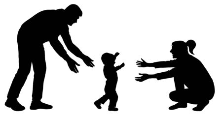 Baby first steps silhouette vector. Family event baby goes to mom