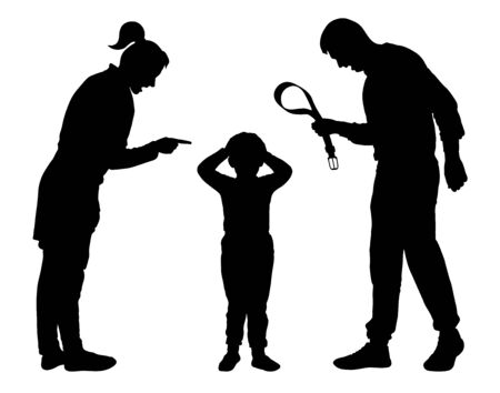 Child abuse silhouette vector. Parents scold the child. Juvenile justice