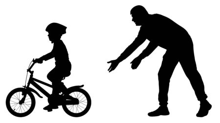 Father teaches baby to ride bicycle silhouette. First bike ride vector. Teaching a child to ride bike without stabilisers