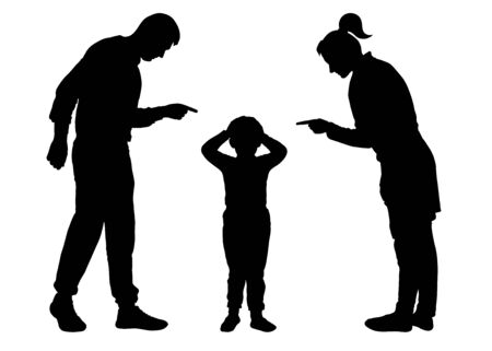 Parents scold the child. Mom and Dad scold the baby who is guilty. Silhouette vector on white background
