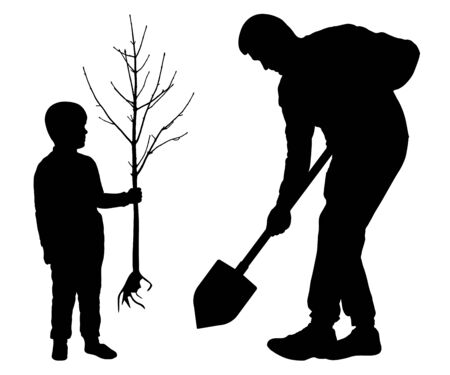 Planting tree with baby. Man holds a spade and child holds a tree seedling. Silhouette vector on white background