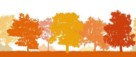 Seamless pattern. Silhouettes of different trees in autumn. Vector illustration.