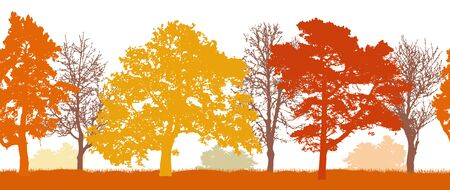 Silhouettes of autumn trees (park, forest) seamless pattern. Vector illustration.