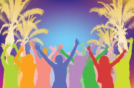 Summer beach party, cheerful dancing crowd silhouette on background of silhouettes of palm trees. Vector illustration.