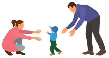 Baby first steps. Family event baby first goes to mom. Vector illustration