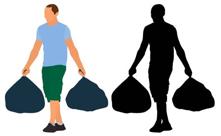 Man carries garbage bags. Vector silhouette illustration