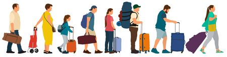 Queue for check-in at the airport. Many tourists with suitcases. Crowd of people stand in line for tickets at the station. Vector illustration