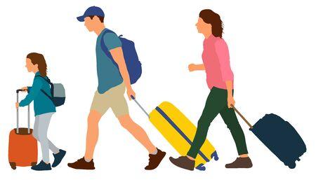 Una giovane coppia con un bambino viaggia in un resort. La gente va con le valigie. Illustrazione vettoriale