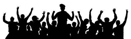 La gente celebra la silueta. Aclamación de la multitud. Fondo de amigos sobre un fondo blanco Ilustración de vector