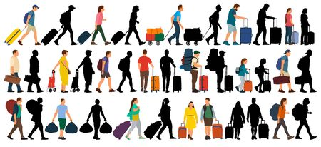 People with suitcases and bags. Isolated set on a white background. Vector silhouette illustration