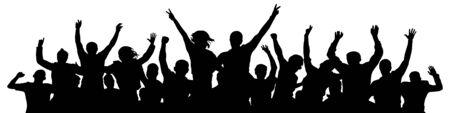 Aclamación de la multitud. La gente celebra la silueta. Personas en un concierto de fiesta disco