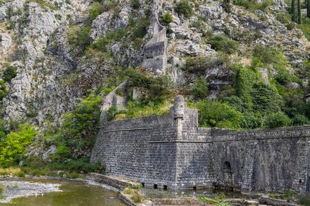 The fortress of St. John, the Illyrian Fort, the Bastion of Riva near the Sea gate. Kotor, Montenegro.
