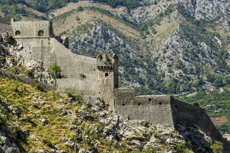 Back view of the fortress from the mountain in Kotor, Montenegro.