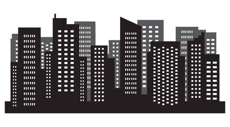 City vector megalopolis abstract. Silhouette of big skyscraper. Vector illustration.