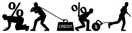 Man carries a heavy burden. Credit on chain at bank. Expensive mortgage. Large interest on the loan. Man pulls bank interest. Vector silhouette isolated set Vecteurs